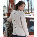 Pull Aran Beige Dos Boutonné Peregrine