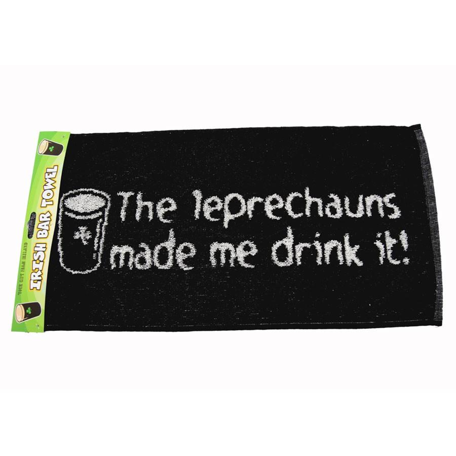Serviette de bar leprechauns made me drink it for Porte serviette de comptoir