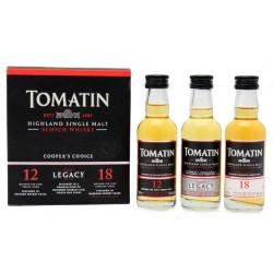 Tomatin 3 x 5cl 12 ans, 18 ans et Legacy  44°