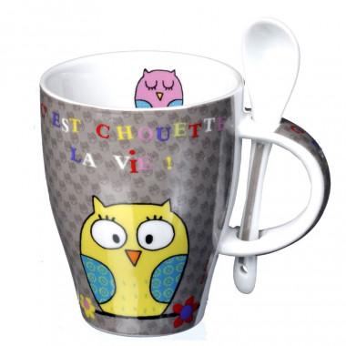 Mug avec Cuillère Chouette La Vie ! 250ml