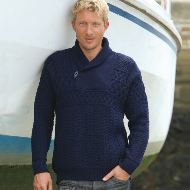 Pull Col Châle Marine Inis Crafts