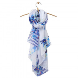 Echarpe Fleurs Bleues Fond Blanc Joules