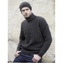 Pull Aran Col Roulé Anthracite Inis Crafts