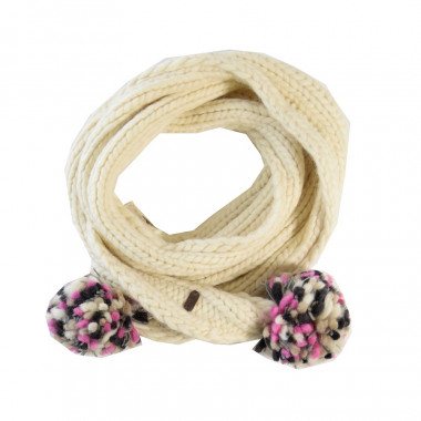 Kusan Ecru Scarf with Multicoloured Pompom