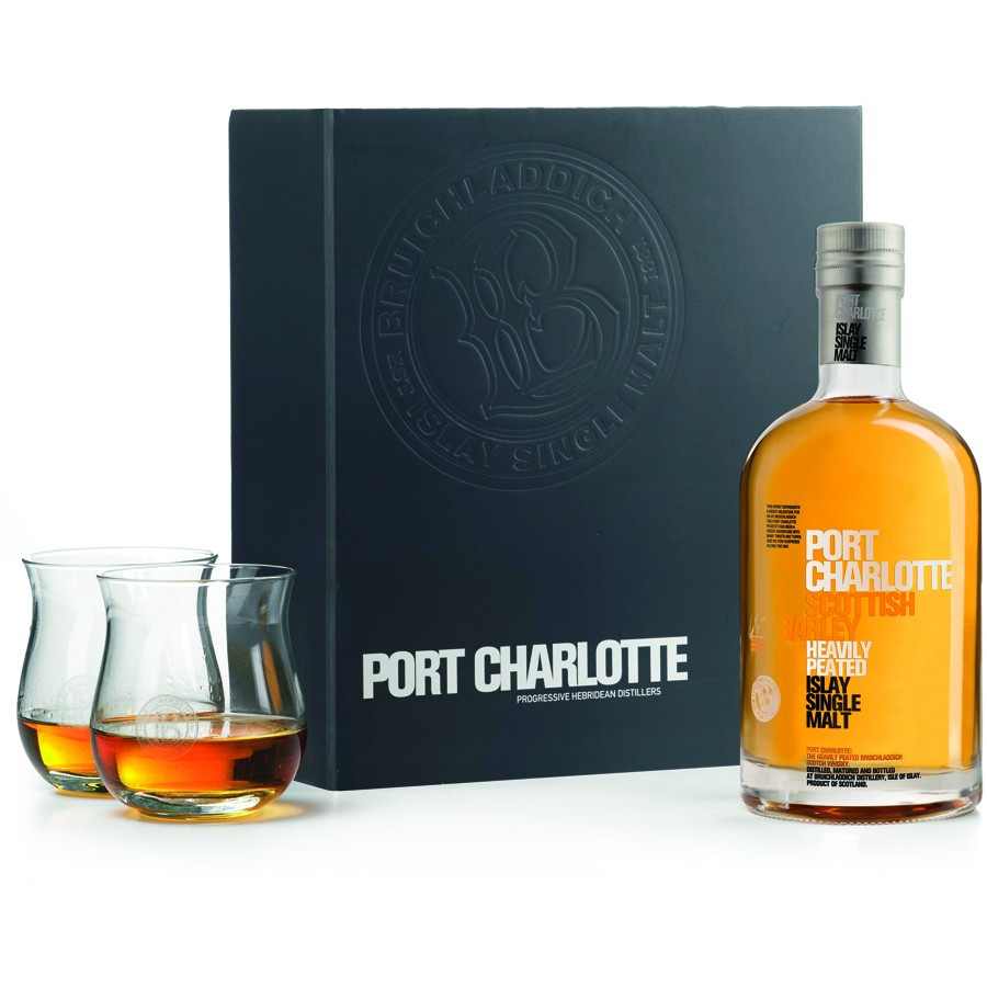 Port charlotte scottish barley box 70cl 50 2 glasses - Port charlotte scottish barley ...