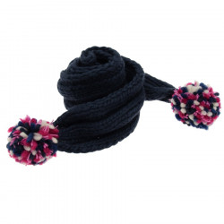 Kusan Deep Blue Scarf with Multicoloured Pompom