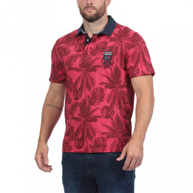 Ruckfield Red Palm Tree Print Polo Shirt