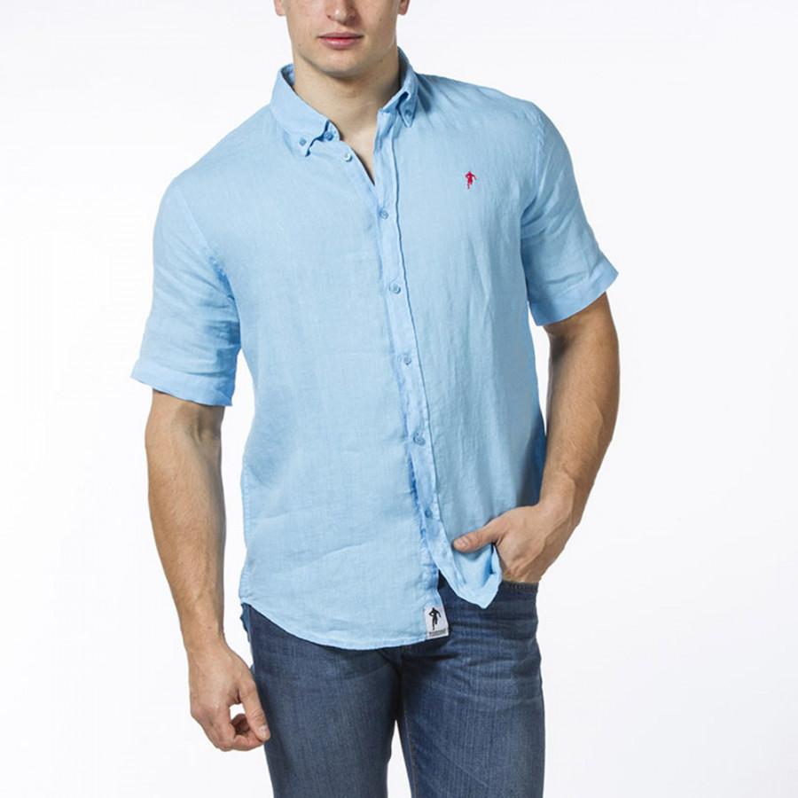 Ruckfield short sleeves light blue linen shirt for Mens light blue linen shirt