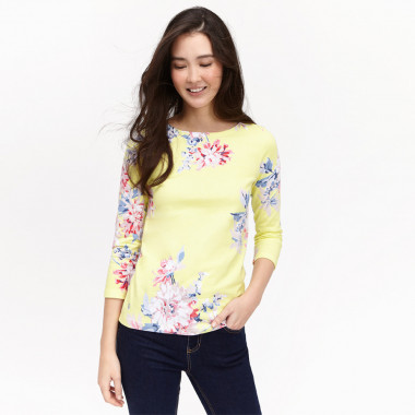 Tom Joule Jersey Yellow Top With Printed Flowers