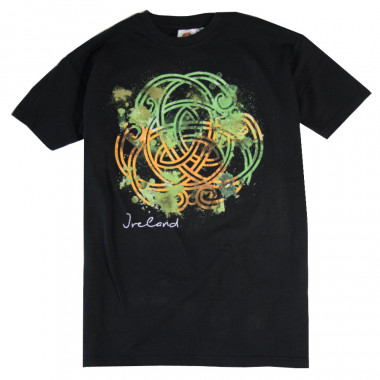 Black T-Shirt with Green, Orange and White Celtic Print