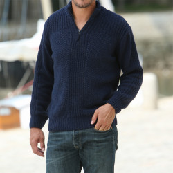 Out of Ireland Navy Half-zipped Collar Sweater