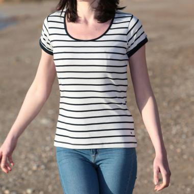 T-Shirt Raye Marine Ecru Out of Ireland