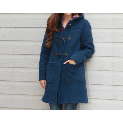 London Tradition Mottled Blue Zip Fiona Duffle-Coat