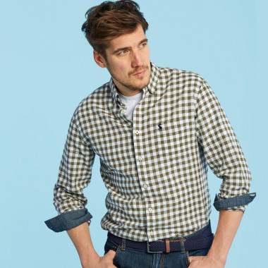 Tom Joule Khaki Gingham Linen and Cotton Shirt