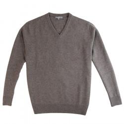 Best Yarn Taupe V Collar Sweater