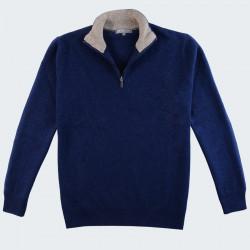 Best Yarn 1/2 Zip Collar Indigo Sweater