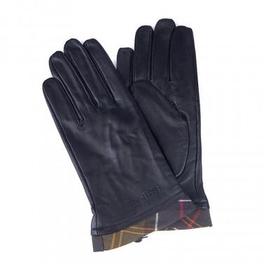Barbour Black Leather Gloves Trimmed