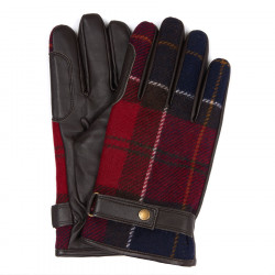 Gants Newbrought Cuir Tartan Rouge Barbour