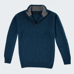 Celtic Alliance Lambswool Peacok Heather Blue Hal Zip Collar Sweater