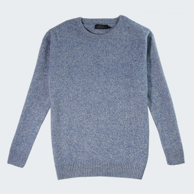 Pull Lambswool Col Rond Bleu Chiné Celtic Alliance