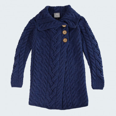 Veste Longue 3 Boutons Merinos Bleu Aran Woollen Mills