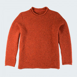 Pull femme droit finitions roulottees orange out of ireland