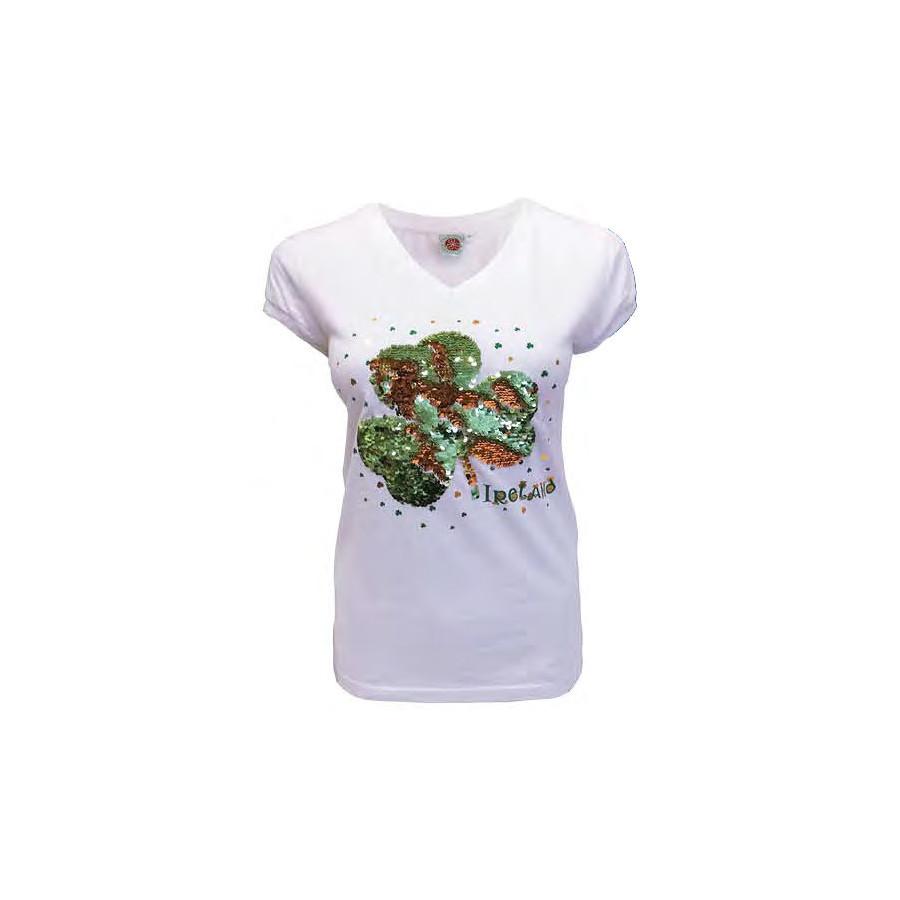 T-shirt Col V Blanc Trèfles Sequins ee4b7c416a2