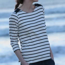 Out Of Ireland Ecru and Navy Stripes Top