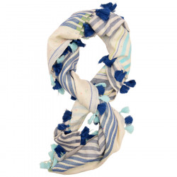 Out Of Ireland Scarf with Blue Pompoms