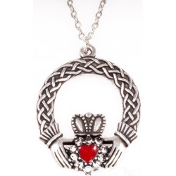 Pendentif Etain Claddagh Email Rouge