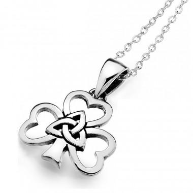Shamrock & Knot Silver Pendant