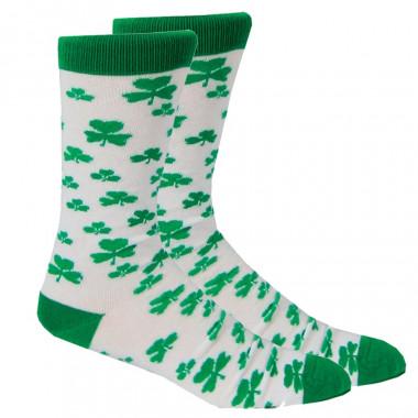 Green Shamrocks White Socks