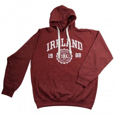 Distressed Bordeaux Ireland Hooded Jumper