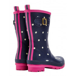 Joules Navy Medium-Length Dotted Boots