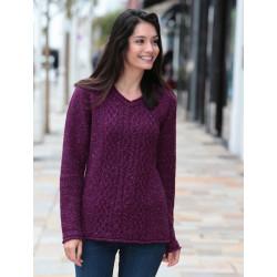 Out Of Ireland Dark Fuschia V-neck Sweater