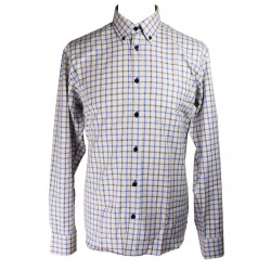 Chemise Carreaux Tattersall Bleu & Crème Out of Ireland
