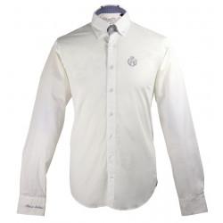 Black Wellis Button Collar White Shirt