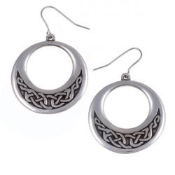Boucles d'oreilles Créoles en étain Noeud Celtique
