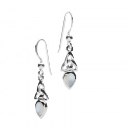 Pearl Grey Silver Celtic Earrings