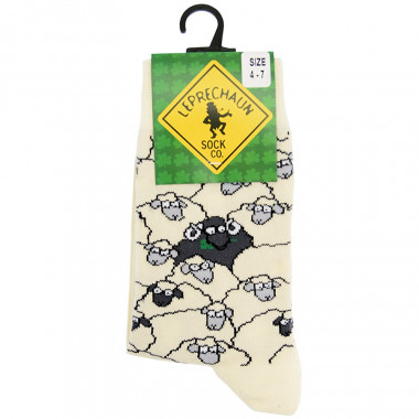 Ecru Socks with a Flock of Sheep