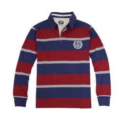 Polo Rayé Bleu et Bordeaux Rugby Nations