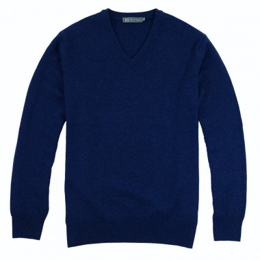 Best Yarn Deep Blue Lambswool V-Collar Sweater