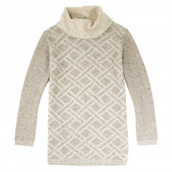 Out Of Ireland Beige and Ecru High Collar Jacquard Sweater
