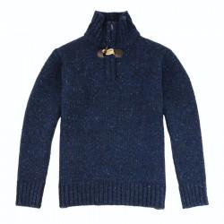 Best Yarn Half Zip Collar Flecked Blue Sweater
