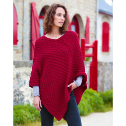 Poncho Col V Rouge The Original Aran Co.