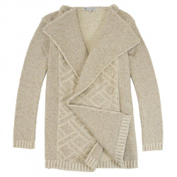 Out Of Ireland Beige and Ecru Long Jacquard Cardigan