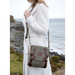 Sac Tweed Vert et Cuir Aran Woolen Mills
