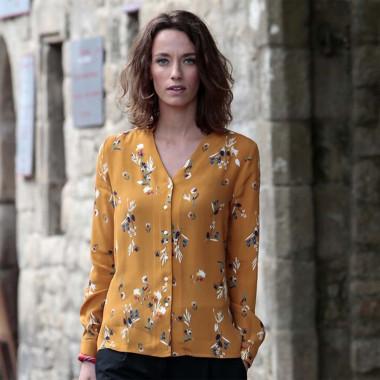 Out of Ireland Mustard Flower Print Shirt