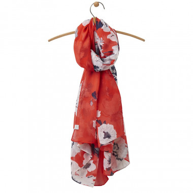 Tom Joule Flowers Print Red Scarf