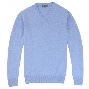 Best Yarn Lambswool V-neck Light Blue Jumper